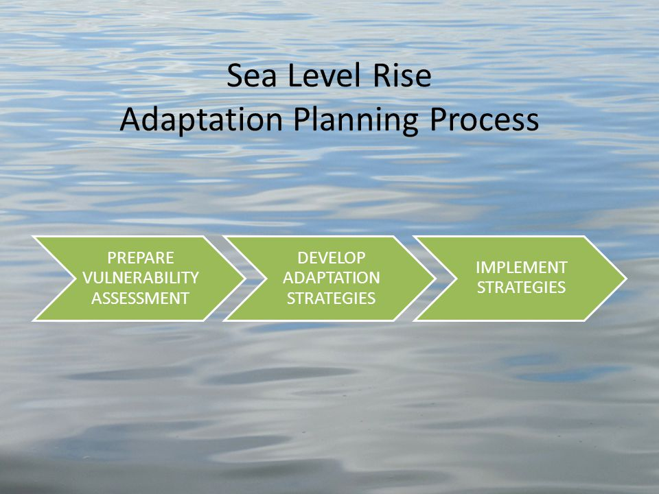 Sea Level Rise Adaptation Planning Process PREPARE VULNERABILITY ASSESSMENT DEVELOP ADAPTATION STRATEGIES IMPLEMENT STRATEGIES