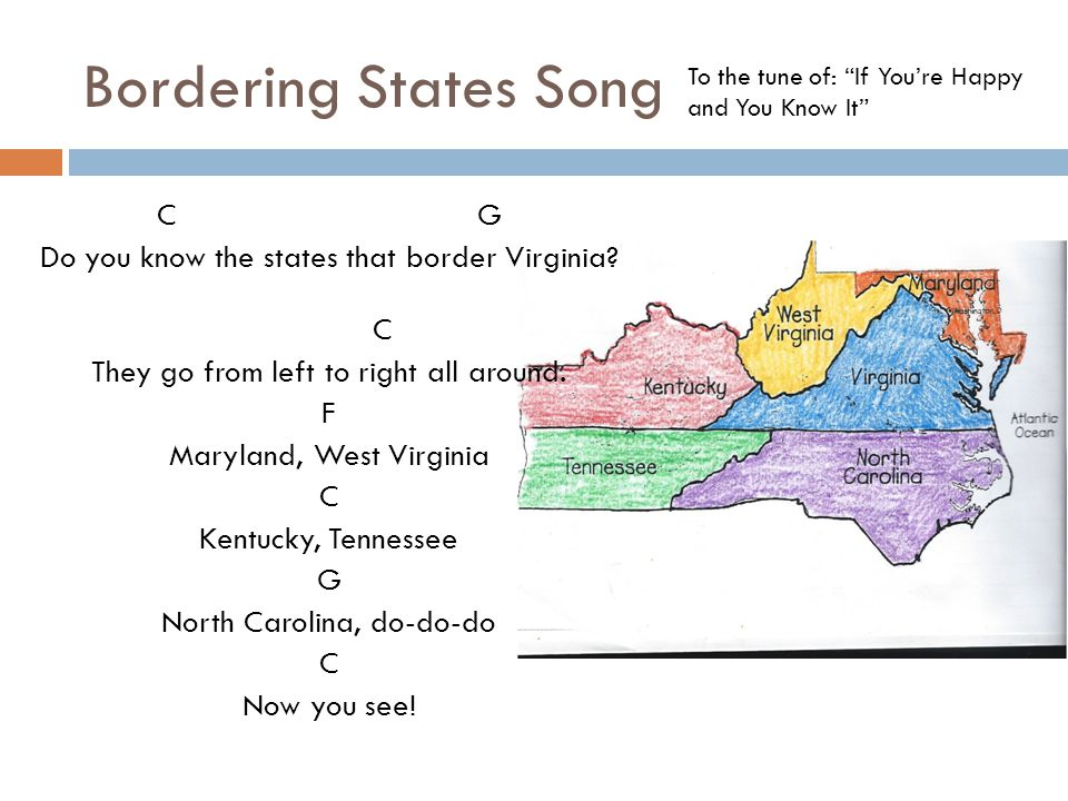 Bordering States Song To the tune of: If You're Happy and You Know It CG Do you know the states that border Virginia.