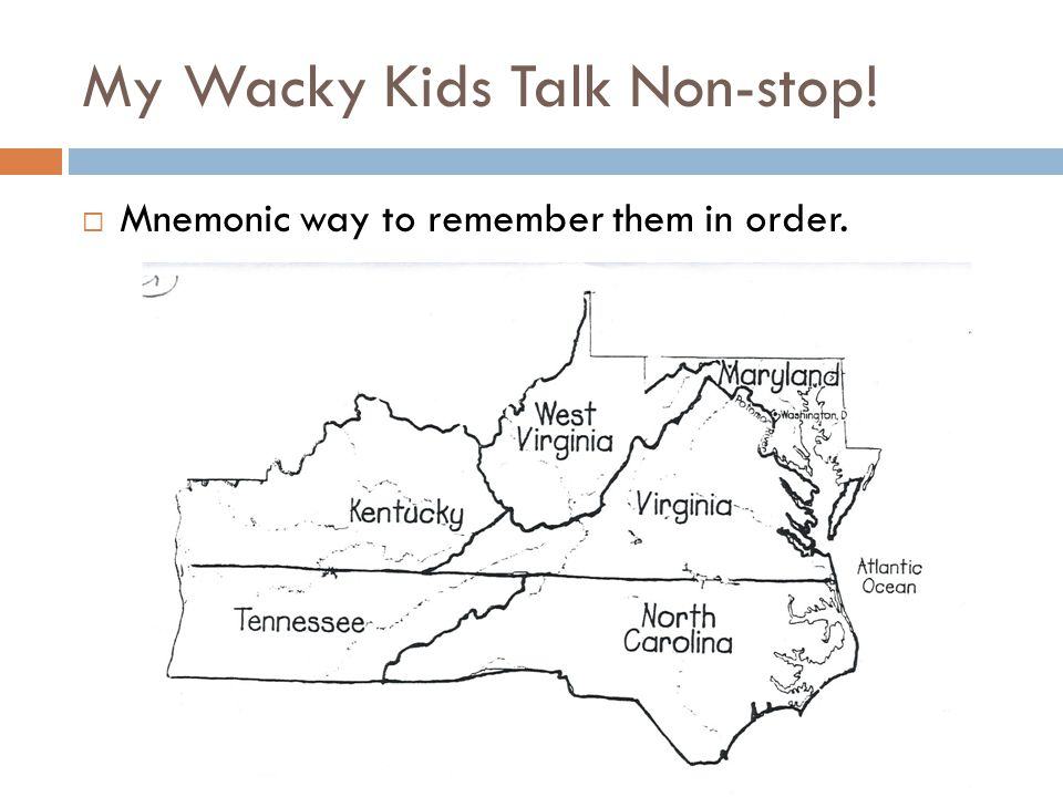 My Wacky Kids Talk Non-stop!  Mnemonic way to remember them in order.