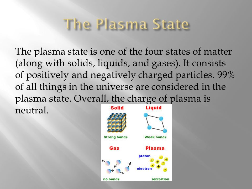The plasma state is one of the four states of matter (along with solids, liquids, and gases).