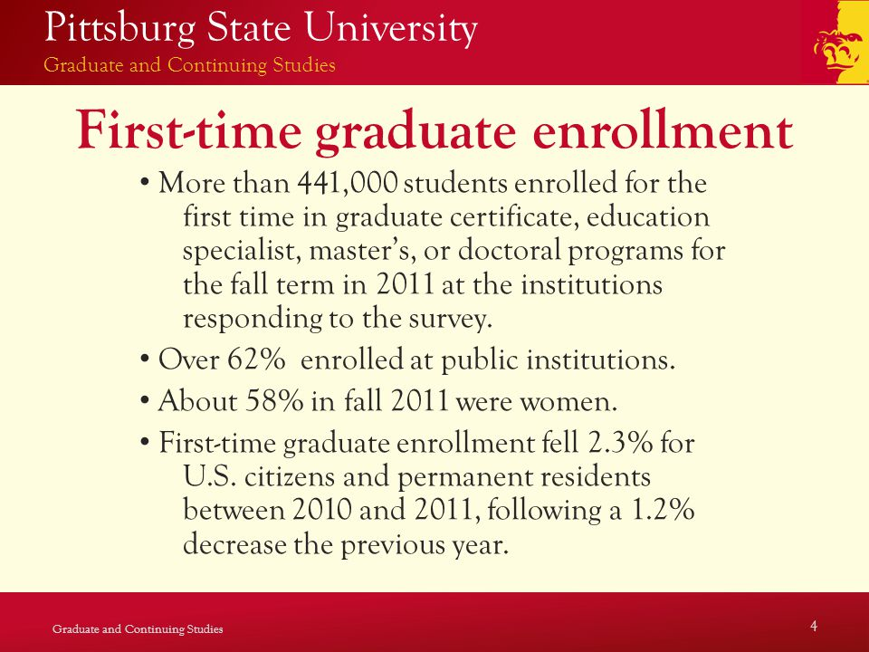 Pittsburg State University Graduate and Continuing Studies First-time graduate enrollment More than 441,000 students enrolled for the first time in graduate certificate, education specialist, master's, or doctoral programs for the fall term in 2011 at the institutions responding to the survey.