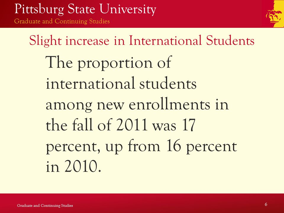 Pittsburg State University Graduate and Continuing Studies Slight increase in International Students The proportion of international students among new enrollments in the fall of 2011 was 17 percent, up from 16 percent in 2010.