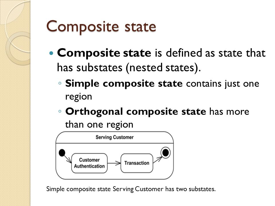 Composite state Composite state is defined as state that has substates (nested states).