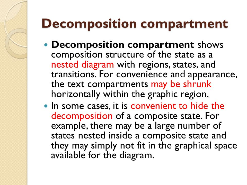 Decomposition compartment Decomposition compartment shows composition structure of the state as a nested diagram with regions, states, and transitions.