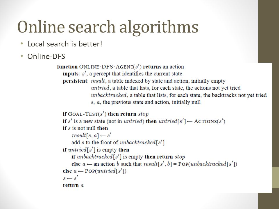 Online search algorithms Local search is better! Online-DFS