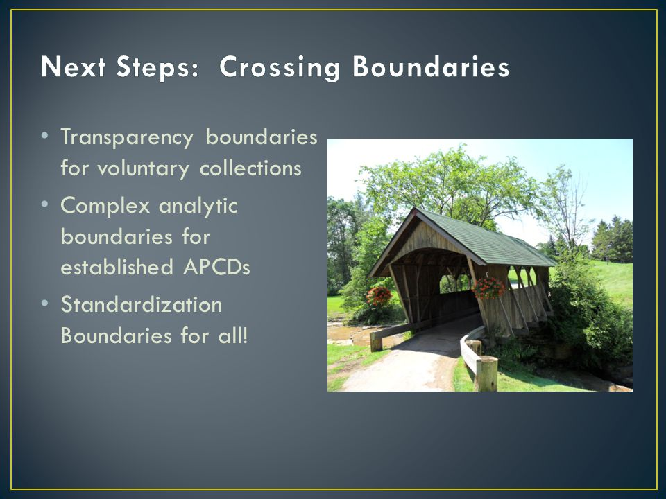 Transparency boundaries for voluntary collections Complex analytic boundaries for established APCDs Standardization Boundaries for all!