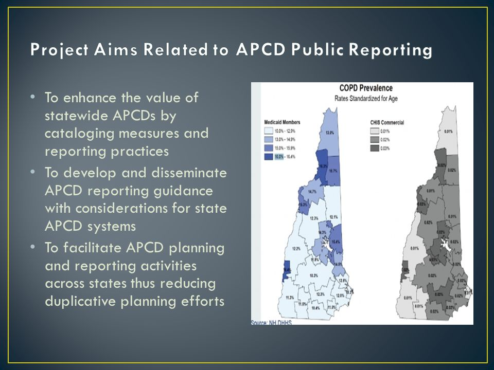 To enhance the value of statewide APCDs by cataloging measures and reporting practices To develop and disseminate APCD reporting guidance with considerations for state APCD systems To facilitate APCD planning and reporting activities across states thus reducing duplicative planning efforts