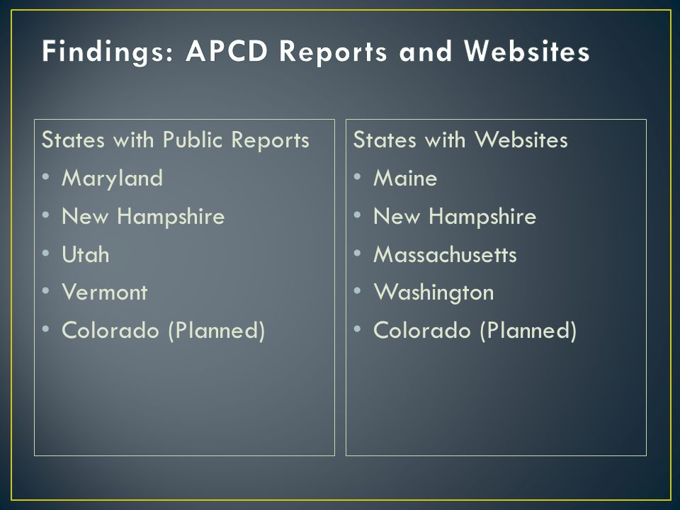 States with Public Reports Maryland New Hampshire Utah Vermont Colorado (Planned) States with Websites Maine New Hampshire Massachusetts Washington Colorado (Planned)
