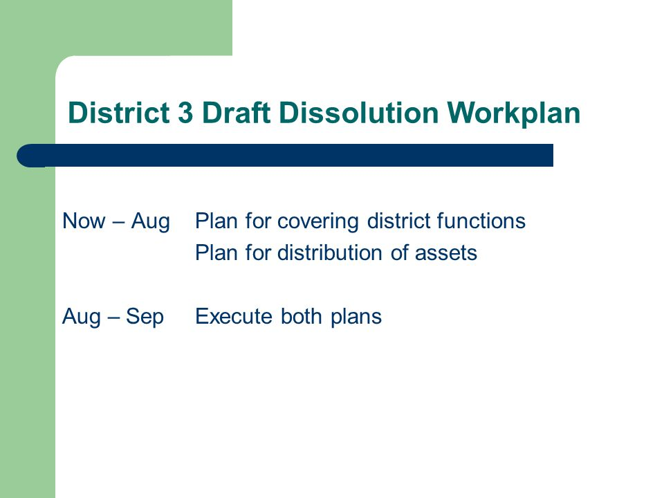 District 3 Draft Dissolution Workplan Now – AugPlan for covering district functions Plan for distribution of assets Aug – SepExecute both plans
