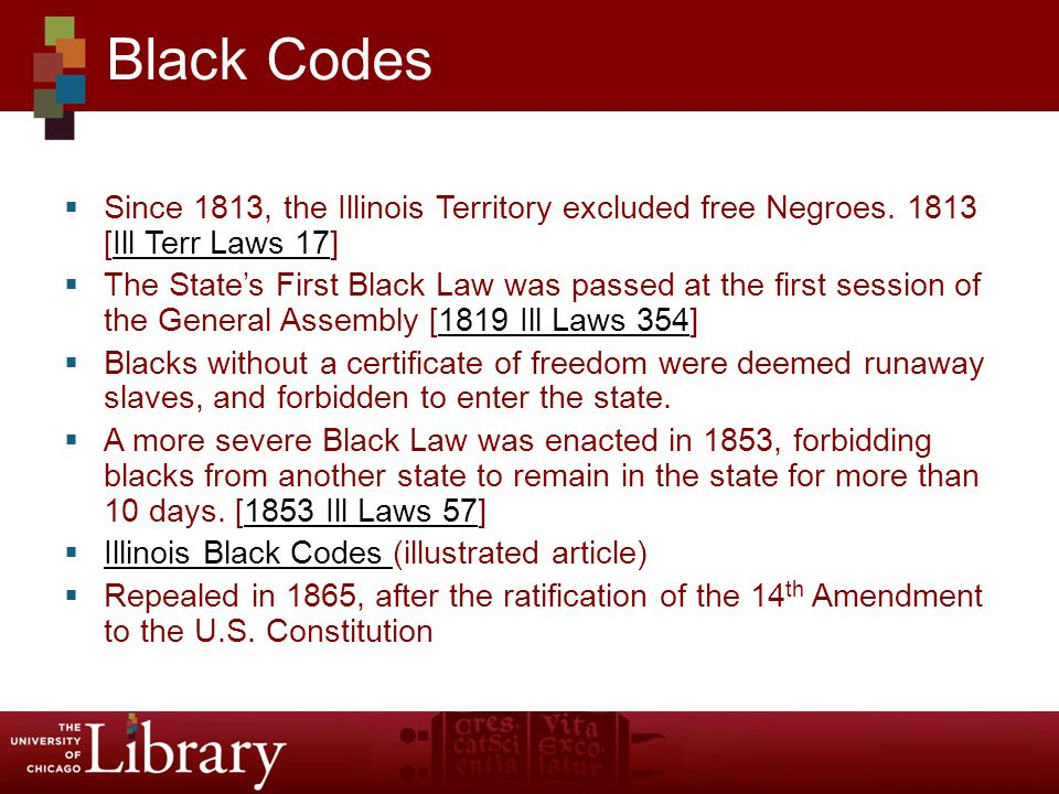  Since 1813, the Illinois Territory excluded free Negroes.