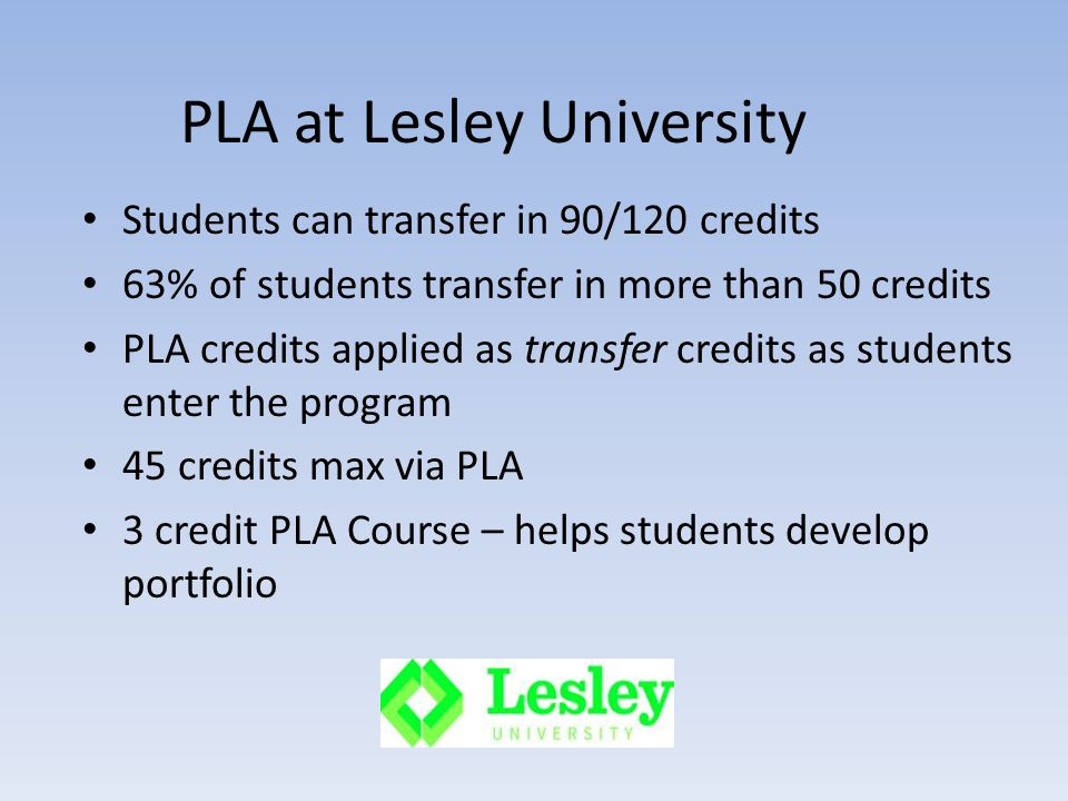PLA at Lesley University Students can transfer in 90/120 credits 63% of students transfer in more than 50 credits PLA credits applied as transfer credits as students enter the program 45 credits max via PLA 3 credit PLA Course – helps students develop portfolio