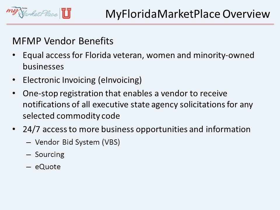MyFloridaMarketPlace for Vendors  Agenda