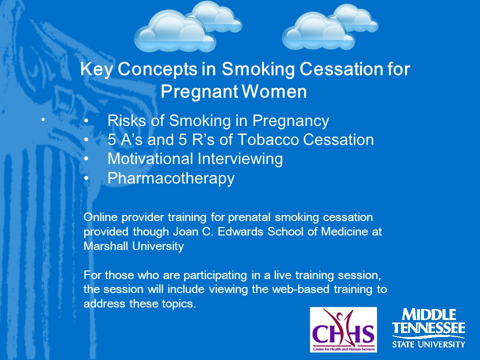 Key Concepts in Smoking Cessation for Pregnant Women Risks of Smoking in Pregnancy 5 A's and 5 R's of Tobacco Cessation Motivational Interviewing Pharmacotherapy Online provider training for prenatal smoking cessation provided though Joan C.