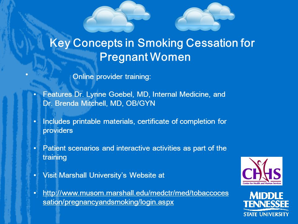 Key Concepts in Smoking Cessation for Pregnant Women Online provider training: Features Dr.