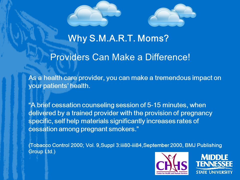 Why S.M.A.R.T. Moms. Providers Can Make a Difference.