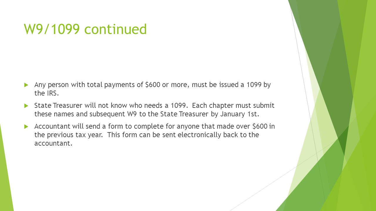 W9/1099 continued  Any person with total payments of $600 or more, must be issued a 1099 by the IRS.