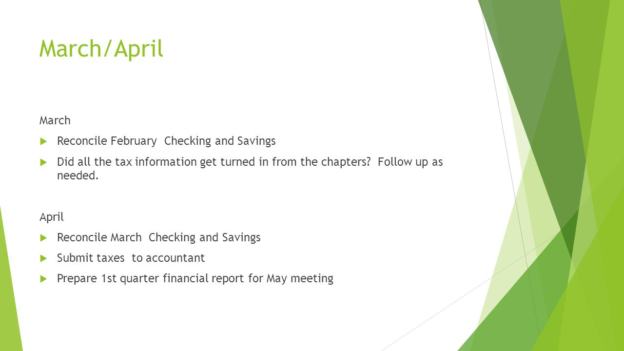 March/April March  Reconcile February Checking and Savings  Did all the tax information get turned in from the chapters.