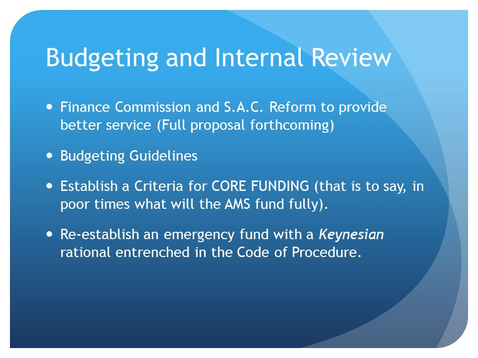 Budgeting and Internal Review Finance Commission and S.A.C.