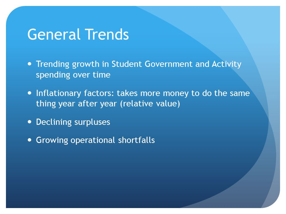 General Trends Trending growth in Student Government and Activity spending over time Inflationary factors: takes more money to do the same thing year after year (relative value) Declining surpluses Growing operational shortfalls