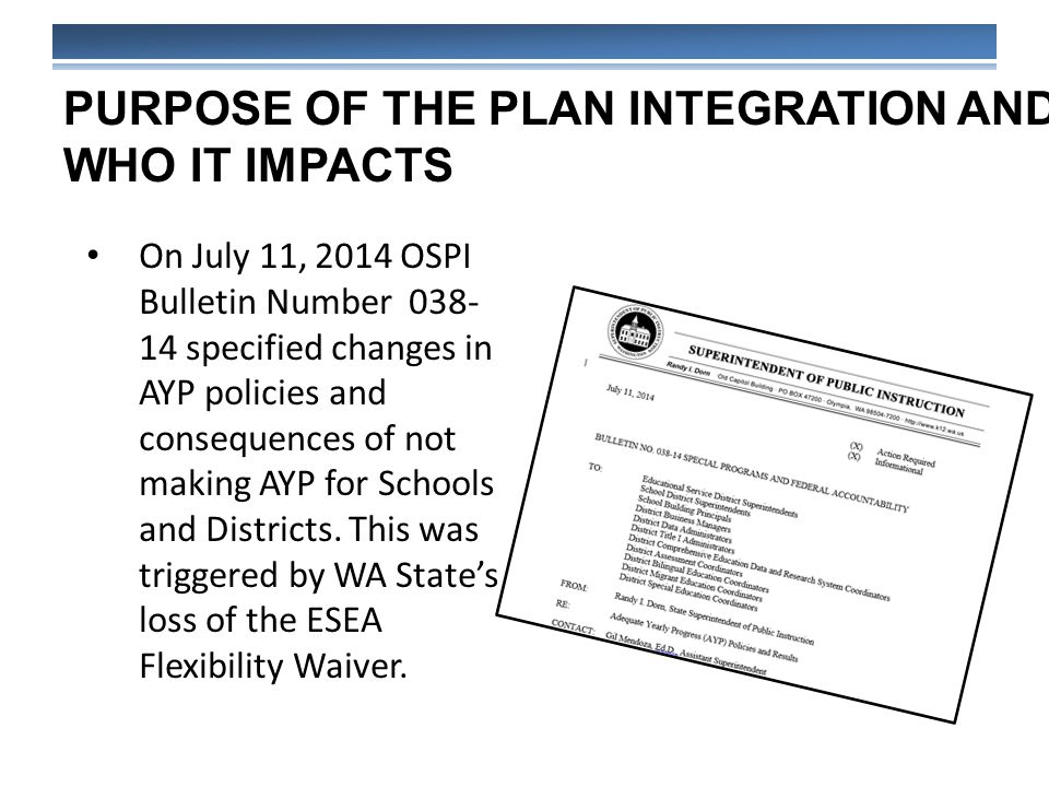 PURPOSE OF THE PLAN INTEGRATION AND WHO IT IMPACTS On July 11, 2014 OSPI Bulletin Number 038- 14 specified changes in AYP policies and consequences of not making AYP for Schools and Districts.