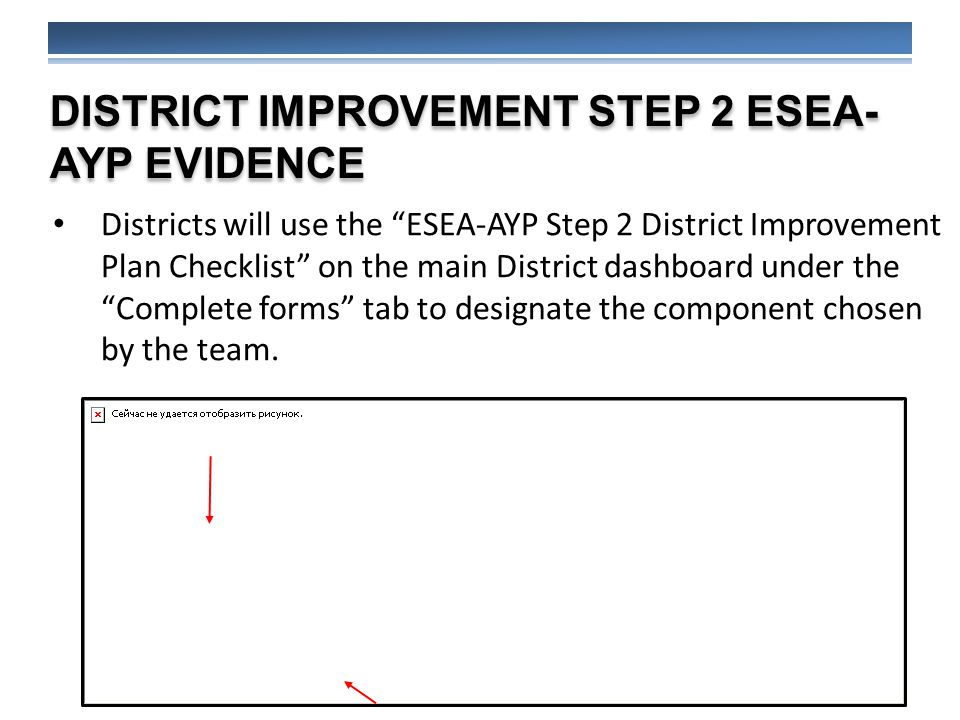 DISTRICT IMPROVEMENT STEP 2 ESEA- AYP EVIDENCE Districts will use the ESEA-AYP Step 2 District Improvement Plan Checklist on the main District dashboard under the Complete forms tab to designate the component chosen by the team.