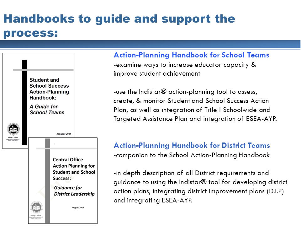 Handbooks to guide and support the process: Action-Planning Handbook for School Teams -examine ways to increase educator capacity & improve student achievement -use the Indistar® action-planning tool to assess, create, & monitor Student and School Success Action Plan, as well as integration of Title I Schoolwide and Targeted Assistance Plan and integration of ESEA-AYP.