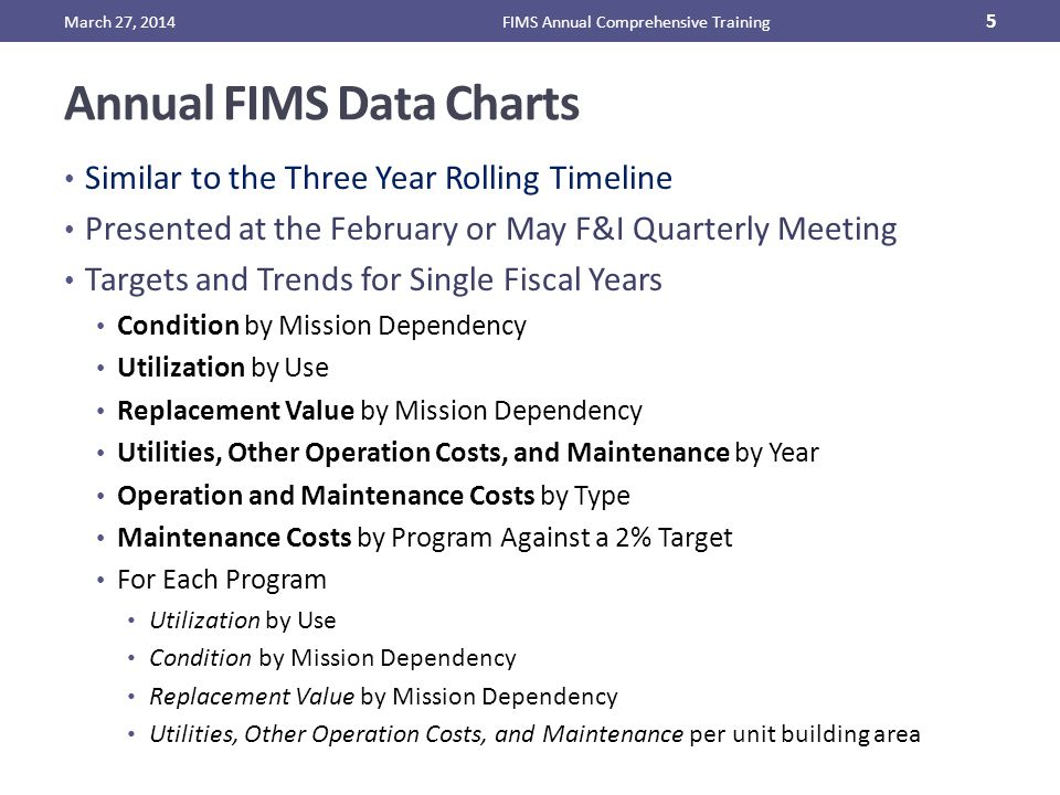 Annual FIMS Data Charts Similar to the Three Year Rolling Timeline Presented at the February or May F&I Quarterly Meeting Targets and Trends for Single Fiscal Years Condition by Mission Dependency Utilization by Use Replacement Value by Mission Dependency Utilities, Other Operation Costs, and Maintenance by Year Operation and Maintenance Costs by Type Maintenance Costs by Program Against a 2% Target For Each Program Utilization by Use Condition by Mission Dependency Replacement Value by Mission Dependency Utilities, Other Operation Costs, and Maintenance per unit building area March 27, 2014FIMS Annual Comprehensive Training 5