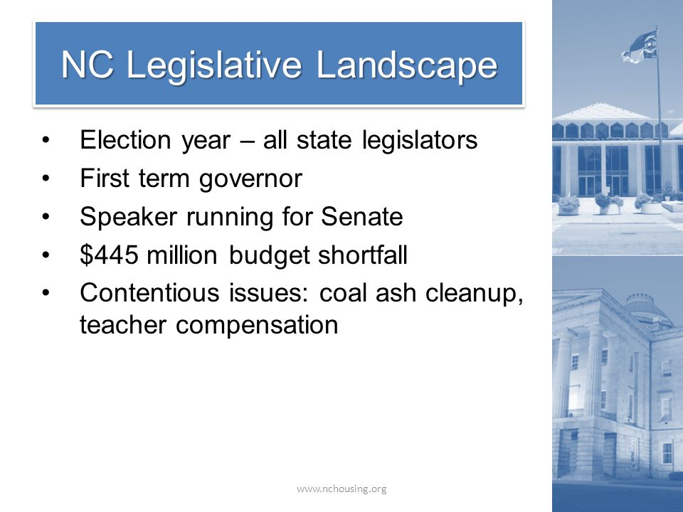 Election year – all state legislators First term governor Speaker running for Senate $445 million budget shortfall Contentious issues: coal ash cleanup, teacher compensation NC Legislative Landscape www.nchousing.org