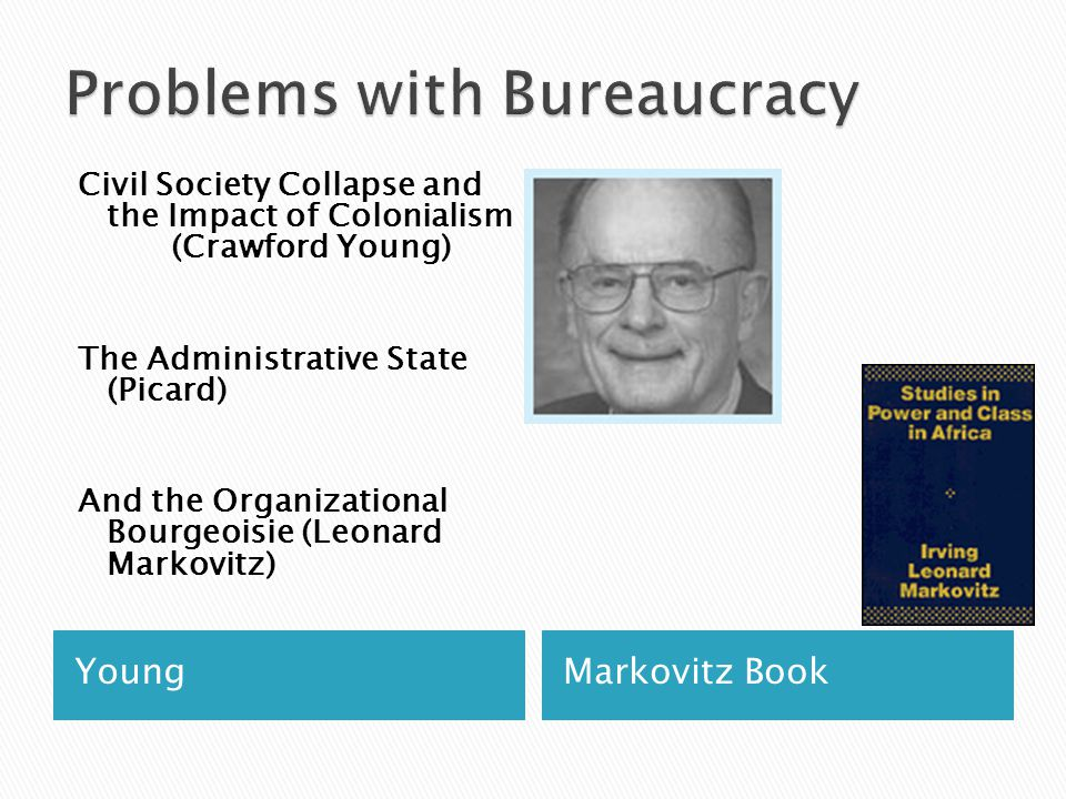 YoungMarkovitz Book Civil Society Collapse and the Impact of Colonialism (Crawford Young) The Administrative State (Picard) And the Organizational Bourgeoisie (Leonard Markovitz)