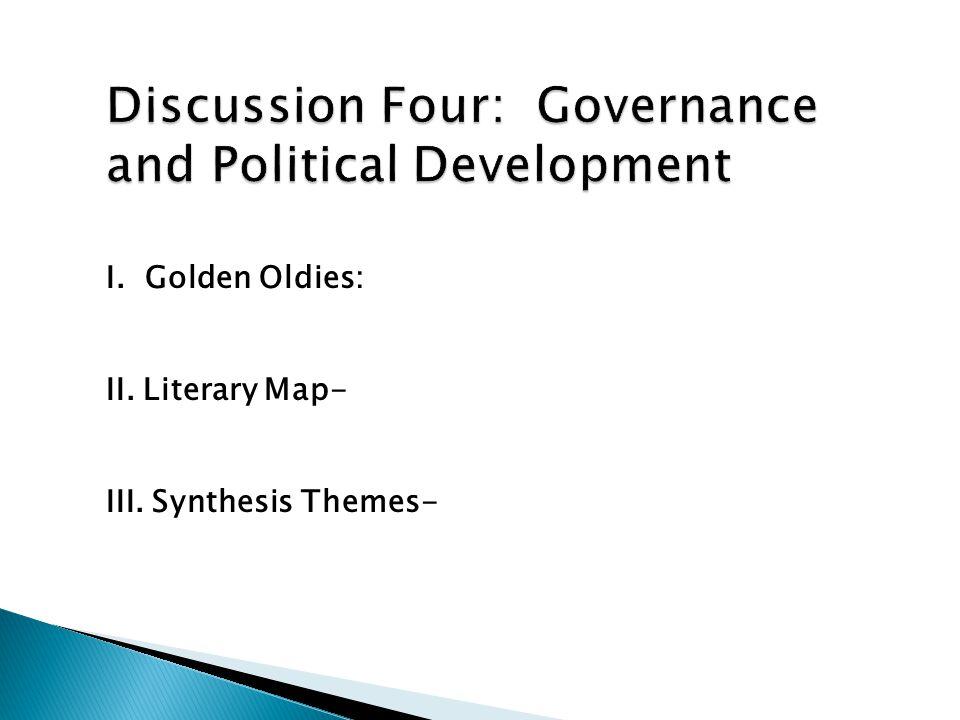 I. Golden Oldies: II. Literary Map- III. Synthesis Themes-