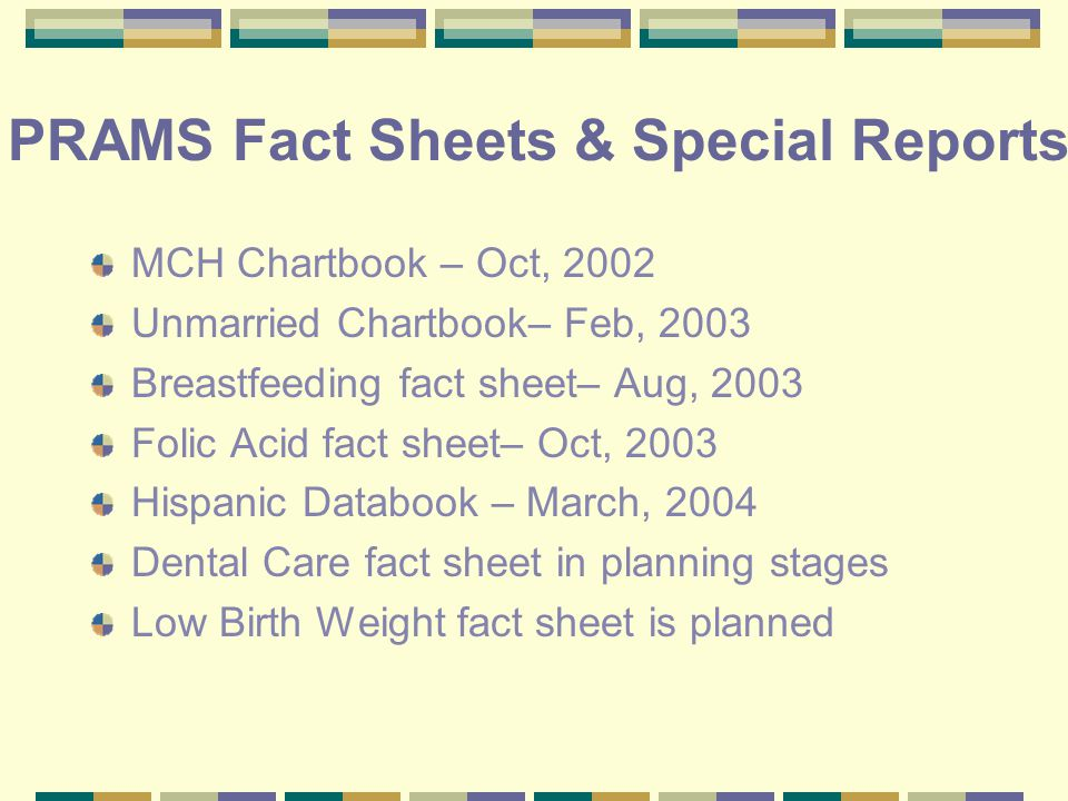 PRAMS Fact Sheets & Special Reports MCH Chartbook – Oct, 2002 Unmarried Chartbook– Feb, 2003 Breastfeeding fact sheet– Aug, 2003 Folic Acid fact sheet– Oct, 2003 Hispanic Databook – March, 2004 Dental Care fact sheet in planning stages Low Birth Weight fact sheet is planned