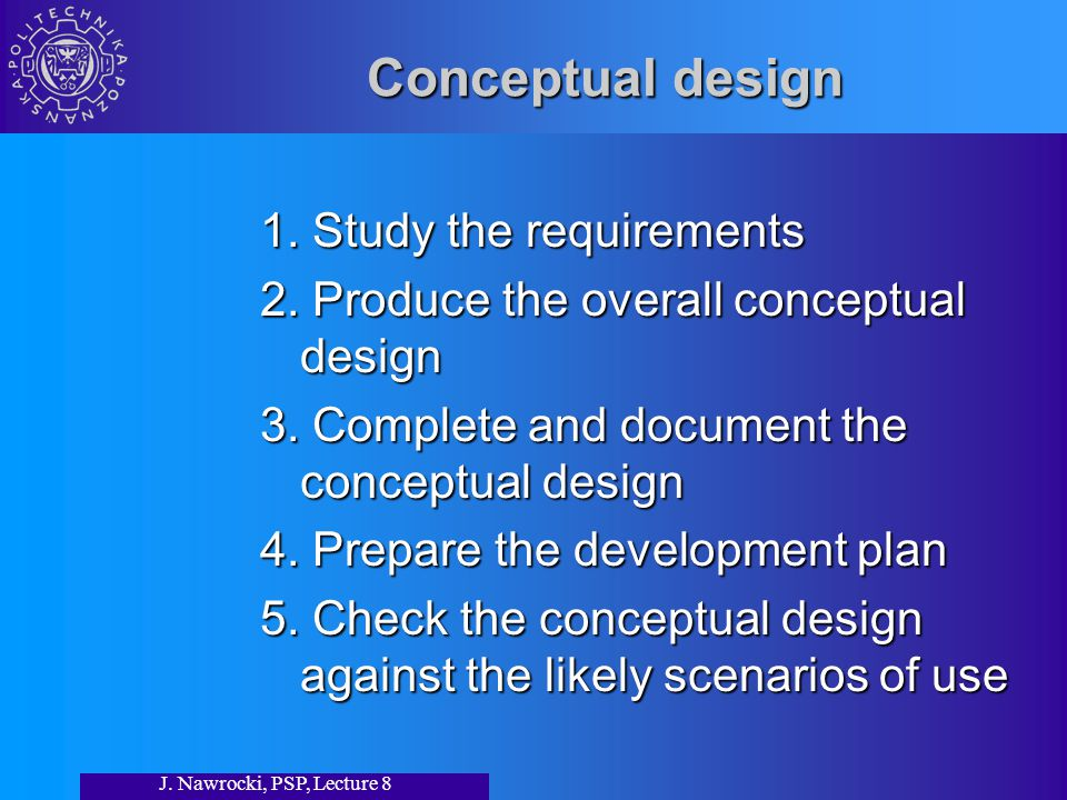 J. Nawrocki, PSP, Lecture 8 Conceptual design 1. Study the requirements 2.