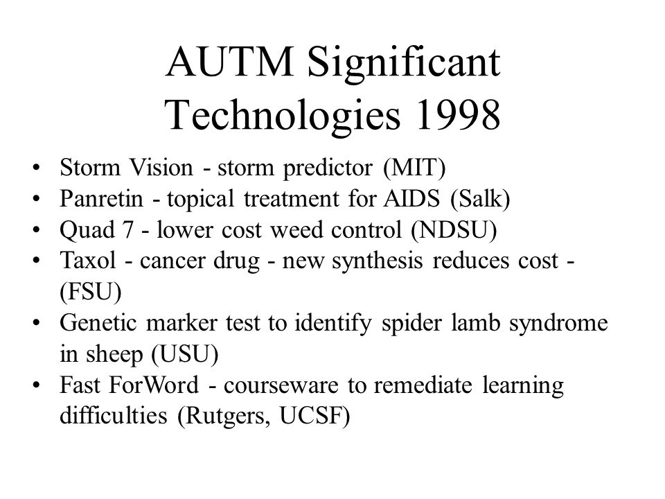 AUTM Significant Technologies 1998 Storm Vision - storm predictor (MIT) Panretin - topical treatment for AIDS (Salk) Quad 7 - lower cost weed control (NDSU) Taxol - cancer drug - new synthesis reduces cost - (FSU) Genetic marker test to identify spider lamb syndrome in sheep (USU) Fast ForWord - courseware to remediate learning difficulties (Rutgers, UCSF)