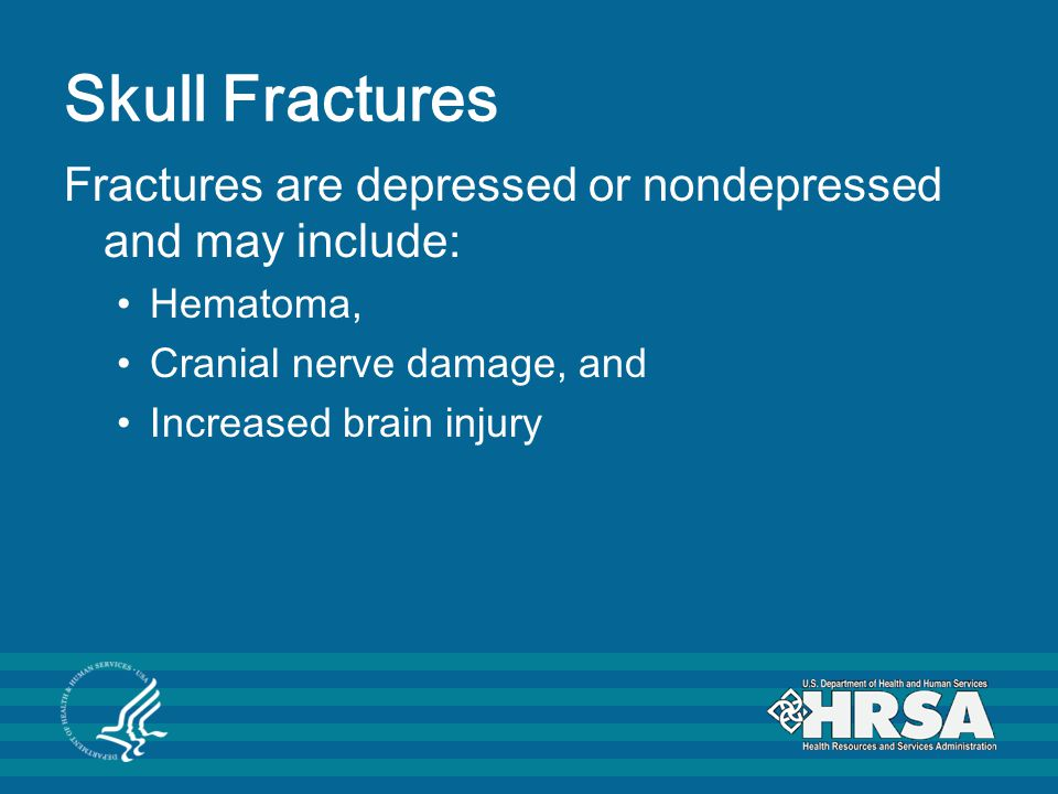 Skull Fractures Fractures are depressed or nondepressed and may include: Hematoma, Cranial nerve damage, and Increased brain injury