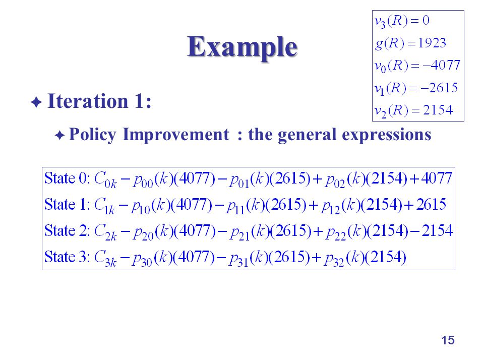 15 Example  Iteration 1:  Policy Improvement : the general expressions