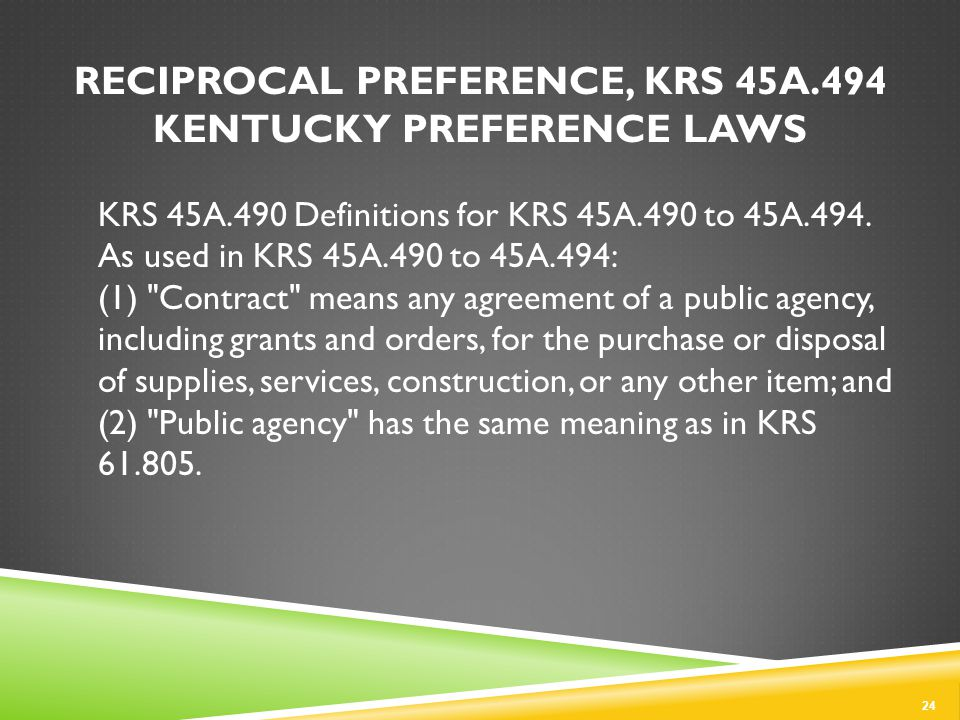 KRS 45A.490 Definitions for KRS 45A.490 to 45A.494.