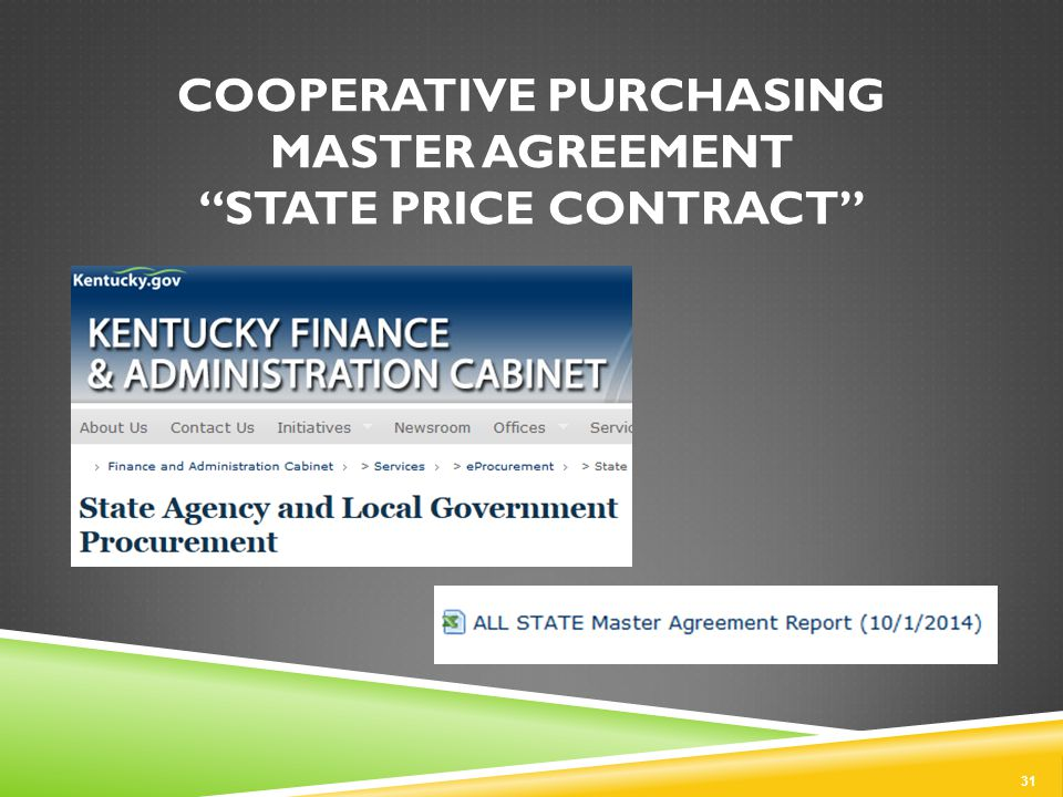 COOPERATIVE PURCHASING MASTER AGREEMENT STATE PRICE CONTRACT 31