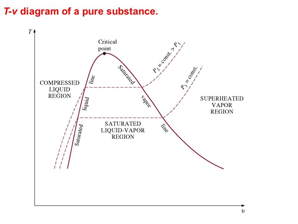 T-v diagram of a pure substance.
