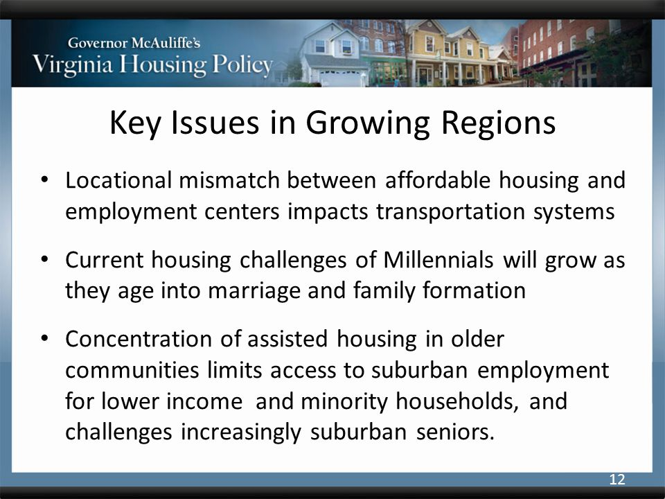 Key Issues in Growing Regions Locational mismatch between affordable housing and employment centers impacts transportation systems Current housing challenges of Millennials will grow as they age into marriage and family formation Concentration of assisted housing in older communities limits access to suburban employment for lower income and minority households, and challenges increasingly suburban seniors.