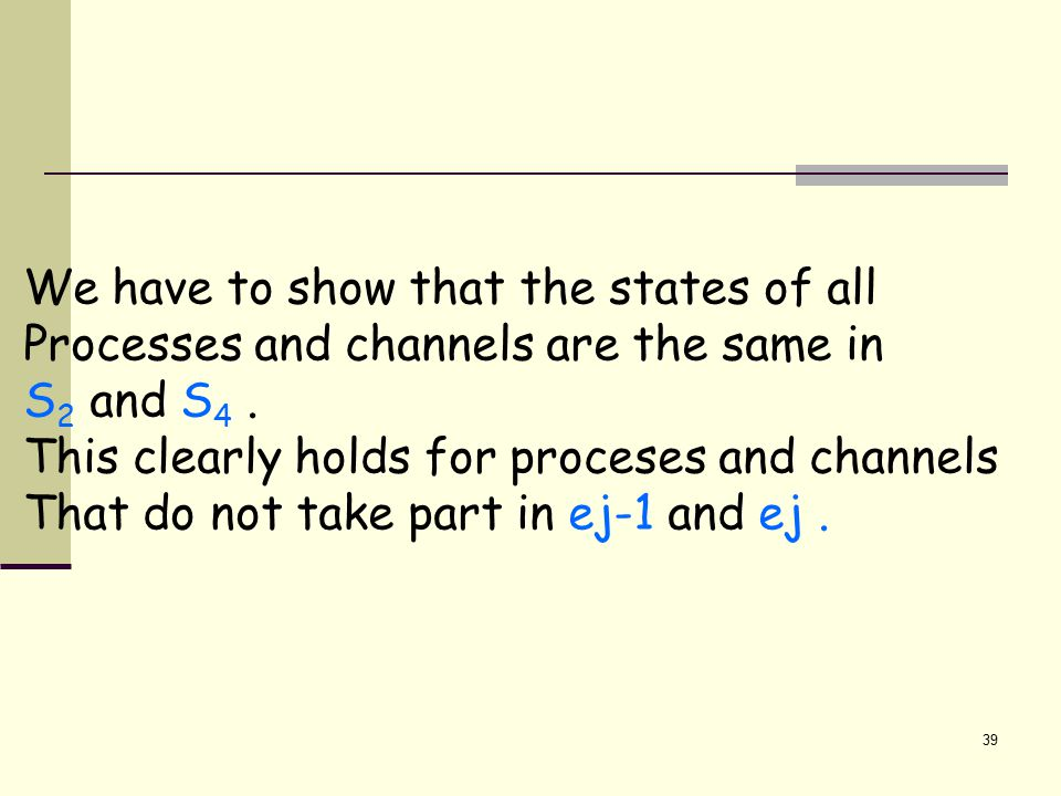 39 We have to show that the states of all Processes and channels are the same in S 2 and S 4.