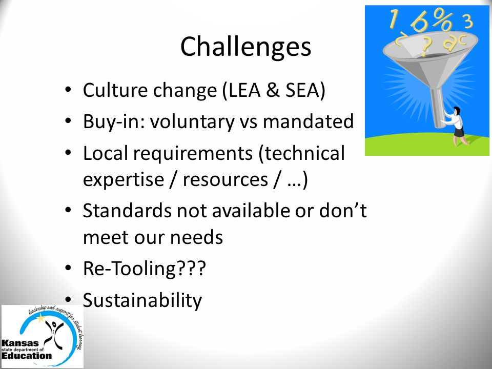 Challenges Culture change (LEA & SEA) Buy-in: voluntary vs mandated Local requirements (technical expertise / resources / …) Standards not available or don't meet our needs Re-Tooling .