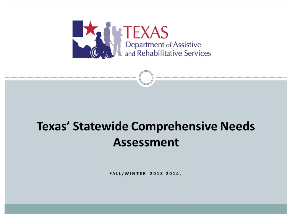 Texas' Statewide Comprehensive Needs Assessment FALL/WINTER 2013-2014.