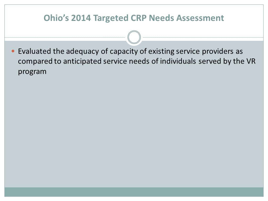 Ohio's 2014 Targeted CRP Needs Assessment Evaluated the adequacy of capacity of existing service providers as compared to anticipated service needs of individuals served by the VR program