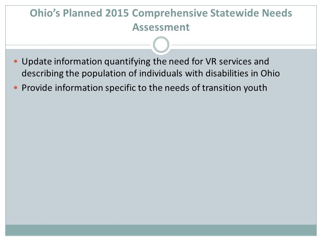 Ohio's Planned 2015 Comprehensive Statewide Needs Assessment Update information quantifying the need for VR services and describing the population of individuals with disabilities in Ohio Provide information specific to the needs of transition youth