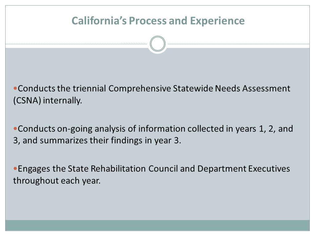 California's Process and Experience Conducts the triennial Comprehensive Statewide Needs Assessment (CSNA) internally.