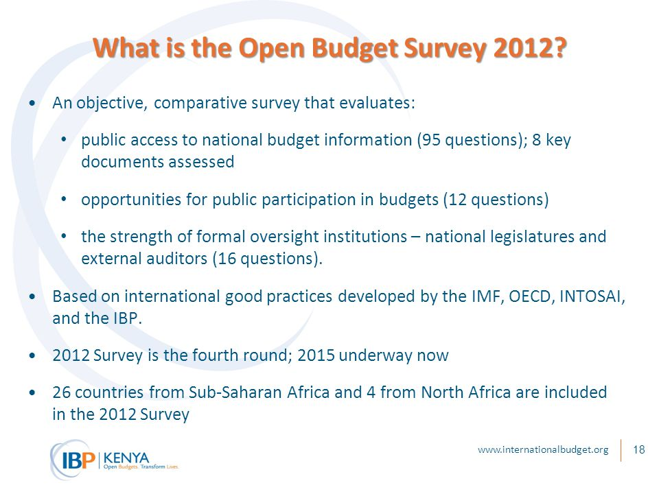 18 What is the Open Budget Survey 2012.