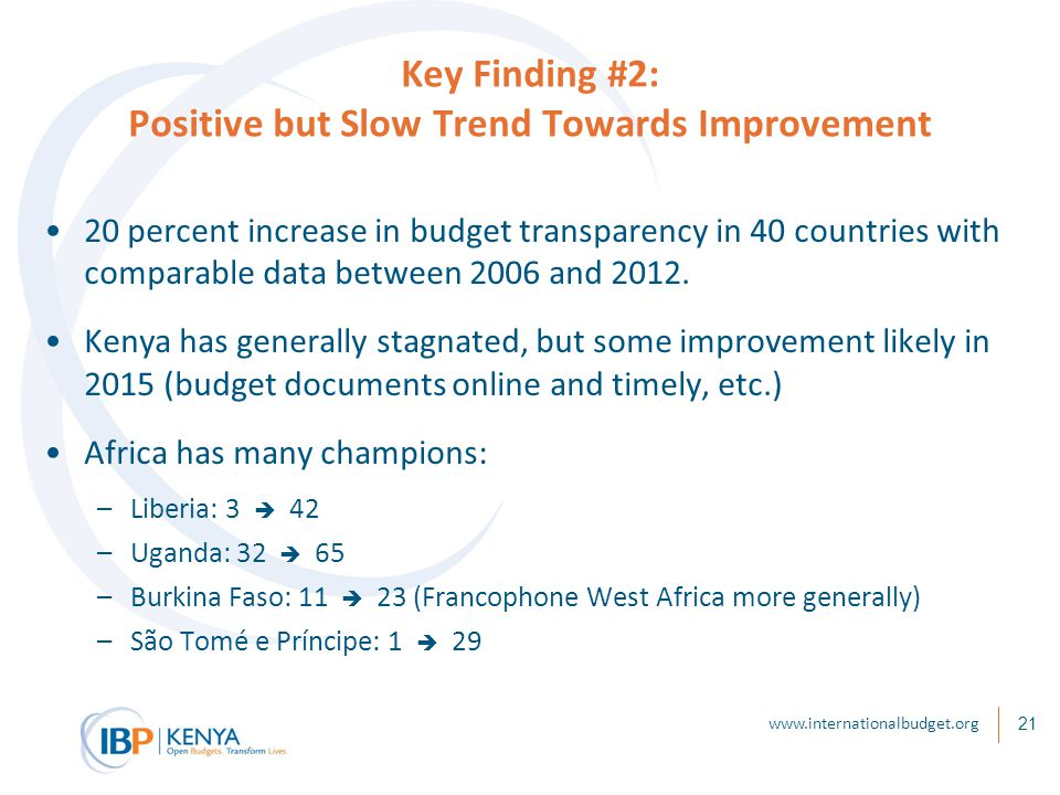 21 Key Finding #2: Positive but Slow Trend Towards Improvement 20 percent increase in budget transparency in 40 countries with comparable data between 2006 and 2012.