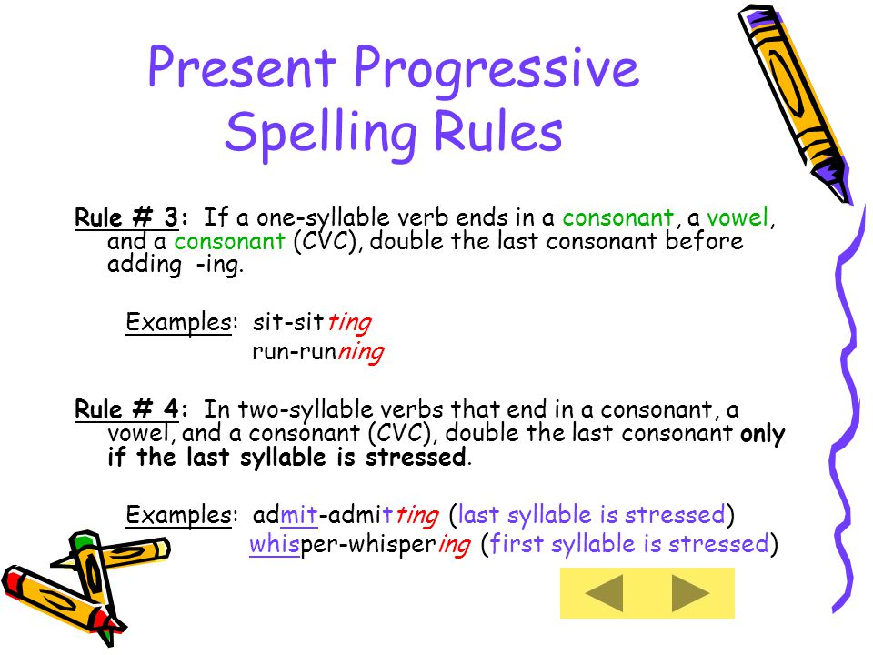 Present Progressive Spelling Rules Rule # 3: If a one-syllable verb ends in a consonant, a vowel, and a consonant (CVC), double the last consonant before adding -ing.