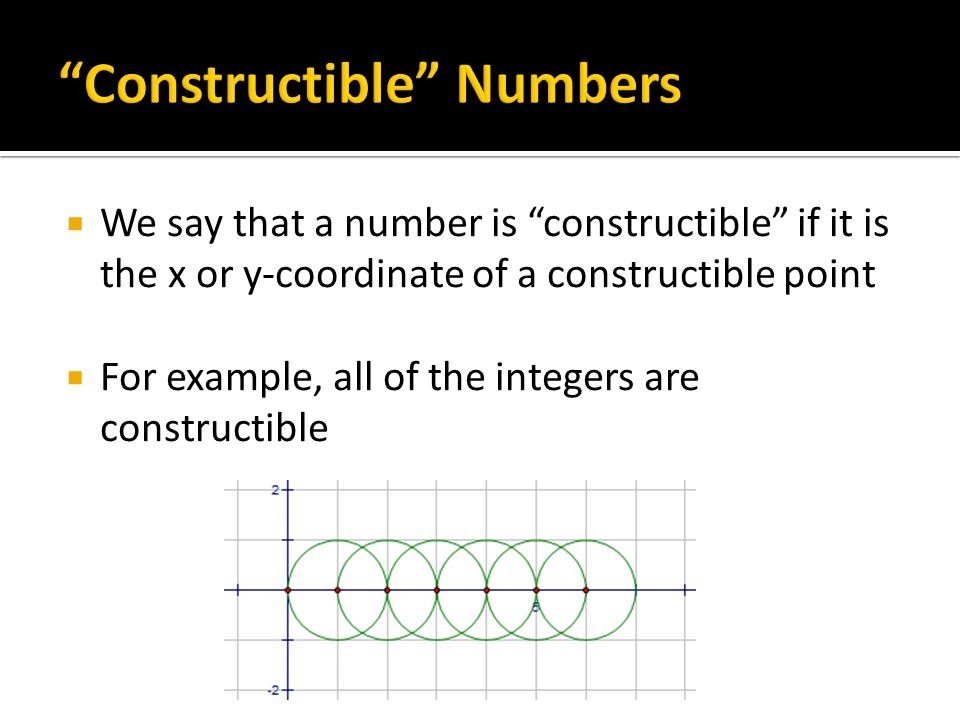  We say that a number is constructible if it is the x or y-coordinate of a constructible point  For example, all of the integers are constructible