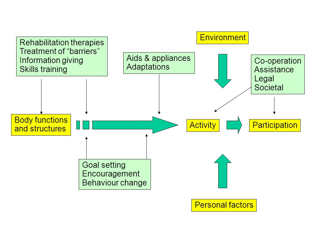 Body functions and structures ActivityParticipation Personal factors Environment Goal setting Encouragement Behaviour change Aids & appliances Adaptations Co-operation Assistance Legal Societal Rehabilitation therapies Treatment of barriers Information giving Skills training